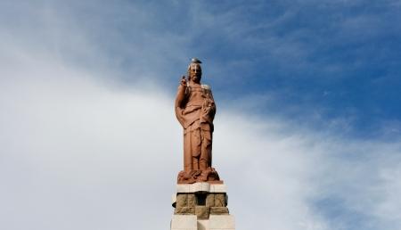 christus: Jesus Christus statue at the port entrance in Tarifa, Spain