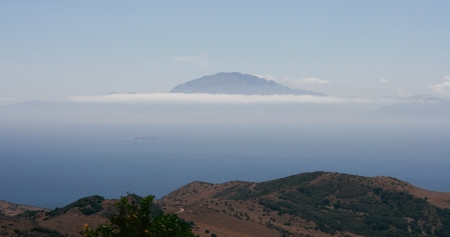 tarifa: Africa hills with clouds seen from Tarifa mountains road, Andalusia, Spain