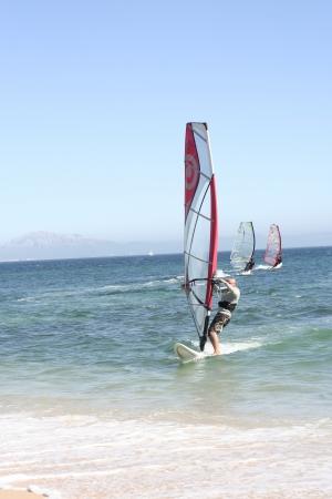 Windsurfing close Punta Paloma Beach, Tarifa, South of Spain  photo