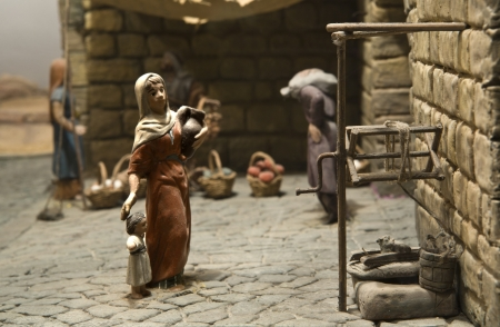 Popular spanish christmas Nativity scene, close up photo