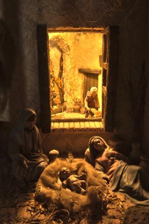 Popular spanish christmas Nativity scene, close up