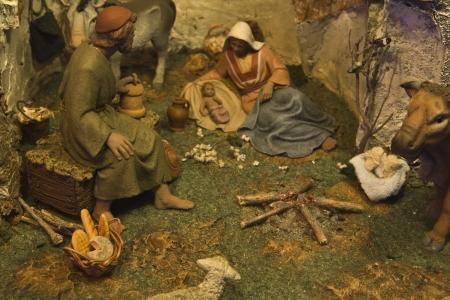 portal de belen: Popular bel�n espa�ol navidad, de cerca