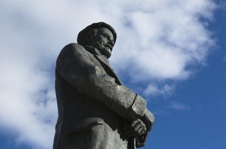 Bronze sculpture of Pio Baroja writter on a sky