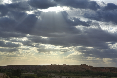 Sunset ray of light over Taurit, Morocco, Africa Stock Photo - 24140335