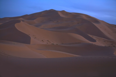 erg: Several sand hill at Erg Chebbi in the Sahara desert.  Ers are large dunes formed by wind-blown sand.