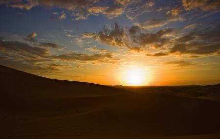 merzouga: Sunrise over Erg Chebbi dunes area, Merzouga, Morocco Stock Photo