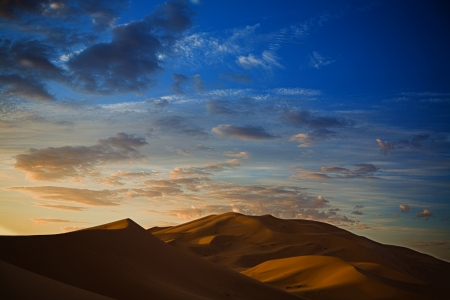 erg: Sunrise over Erg Chebbi dunes area, Merzouga, Morocco Stock Photo