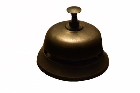 service desk: Old service bell on a rural hotel reception desk