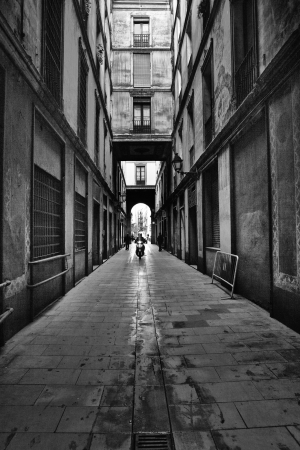 Gothic quarter in the morning  Empty alleyways in Barcelona, Spain photo