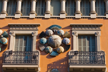 ramblas: Chinese umbrellas, modernism architecture  Casa Bruno Cuadros , in the Ramblas  Barcelona, Catalonia, Spain  Orientalist style, is an old store of umbrellas, canes and fans of mid-nineteenth century