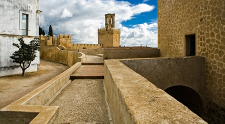 badajoz: Battlements, pathways and towers of Badajoz muslim wall. Adarve and inside buildings