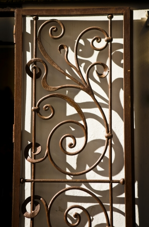 Nice wrought iron handicraft door casting shadows, Cordoba, Spain