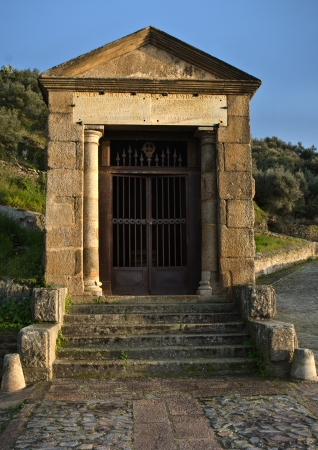 Alcantara temple , constructed as an offering to Trajan and the gods of Rome beside Alcantara Roman Bridge, Extremadura, Spain