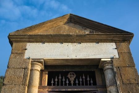 lintel: Alcantara temple, constructed as an offering to Trajan and the gods of Rome beside Alcantara Roman Bridge, Extremadura, Spain
