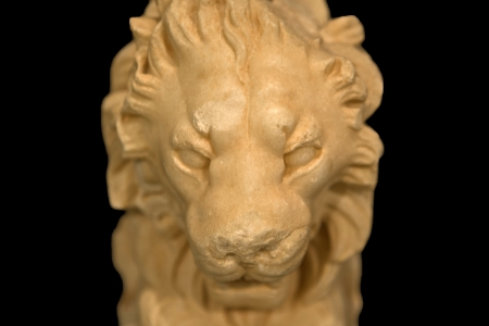 Detail of Lion sculpture as a part of marble roman table