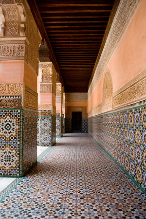 ibn: The Ben Youssef Madrasa was an Islamic college in Marrakech and was named after the amoravid sultan Ali ibn Yusuf. Stock Photo