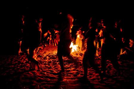 Sahara desert doors area scene  Camp at night, Zagora, Morocco Editorial