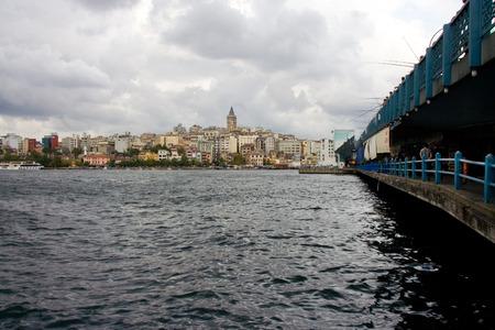 koprusu: The Galata Bridge, Galata Koprusu with fishermen