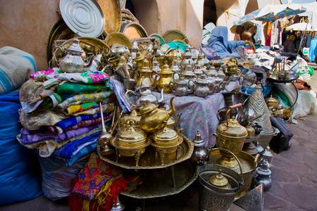 artisanal: Silver tea pots sold in a market, Marrakesh, Morocco