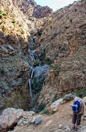 Unidentified man gets the famous first waterfall of Setti Fatma, Morocco photo