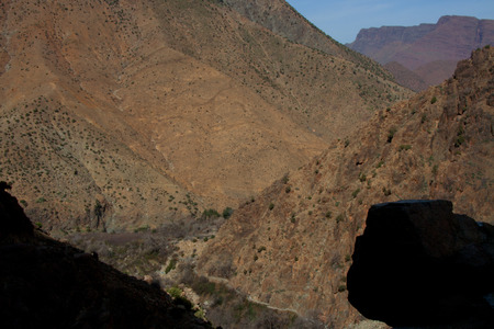 Landscape in the Atlas mountains a sunny winter day to get the famous waterfalls, Morocco photo