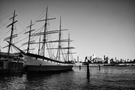 One of the last iron sailing ships to be built, the Wavertree is docked at the South Street Seaport museum on the East River, New York City  photo