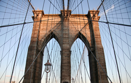 Brooklyn Bridge and the during a beautiful sunset, New York photo