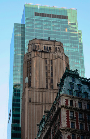crowded space: Manhattan, Old and new buildings are crowded together competing for space