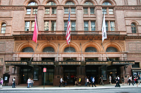 concert hall: NEW YORK - JUNE 24  Carnegie Hall, shot of facade  On June 24, 2008, NY, USA  Home of the New York Philharmonic Orchestra,  at 57th street and 7th avenue