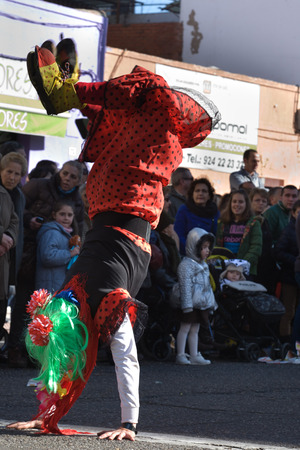BADAJOZ, FEBRUARY 12  Performers take part in the Carnival parade of comparsas at Badajoz City, on February 12, 2013  This is one of the best carnivals in Spain, renown by all the national news media and especially highlighting massive participation of pe Stock Photo - 26316296