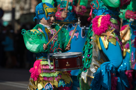 BADAJOZ, FEBRUARY 12  Performers take part in the Carnival parade of comparsas at Badajoz City, on February 12, 2013  This is one of the best carnivals in Spain, renown by all the national news media and especially highlighting massive participation of pe Stock Photo - 26316300