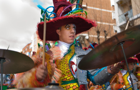 peo: BADAJOZ, SPAIN, MARCH 4  Performers take part in the Carnival parade of comparsas at Badajoz City, on March 4, 2014  This is one of the best carnivals in Spain, renown by all the national news media and especially highlighting massive participation of peo