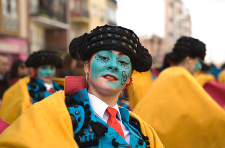 BADAJOZ, SPAIN, MARCH 4  Performers dressed up as bullfighters take part in the Carnival parade of comparsas at Badajoz City, on March 4, 2014  This is one of the best carnivals in Spain, renown by all the national news media and especially highlighting m Editorial