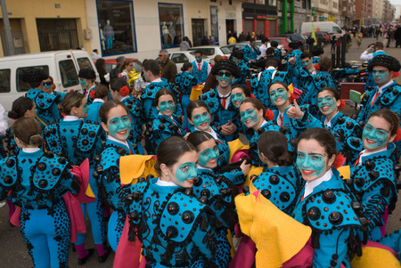 BADAJOZ, SPAIN, MARCH 4  Performers dressed up as bullfighters after Carnival parade of comparsas at Badajoz City, on March 4, 2014  This is one of the best carnivals in Spain, renown by all the national news media and especially highlighting massive part