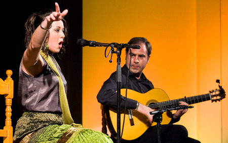 LA ALBUERA, BADAJOZ, SPAIN, MARCH 28  Maria Jose Chacon performing on stage during La Abuera Flamenco Festival on March 28, 2010 in Badajoz, Spain