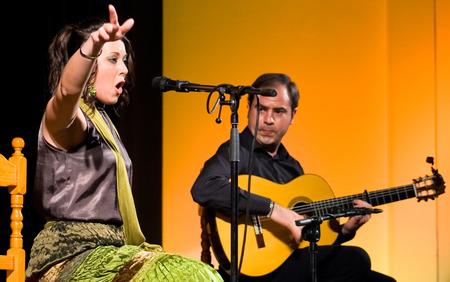 La Albuera, Badajoz, Spanje, 28 maart Maria Jose Chacon uitvoeren op het podium tijdens La Abuera Flamenco Festival op 28 maart 2010 in Badajoz, Spanje