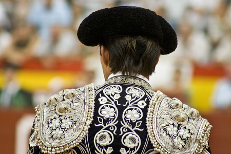 Spanish torero suit of lights clothes detail photo