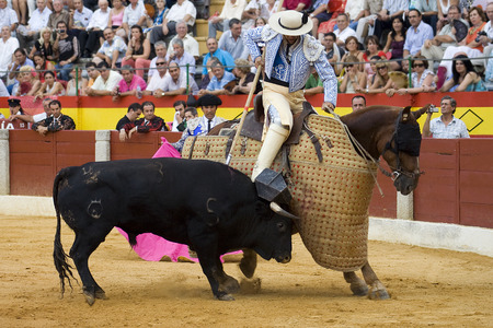 ALMENDRALEJO, SPAIN, AUGUST 15  The lancer wounding the bull on the bulllfight lance third, on August 15, 2009 in Almendralejo, Spain
