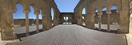 caliphate: Upper Basilica Building on  Archaeological Site of Medina Azahara, Madinat al-Zahra, near Cordoba, Andalusia, Spain Stock Photo