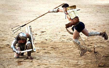 merida: MERIDA, SPAIN – APRIL 5  performing of gladiators fighting of Merida Editorial