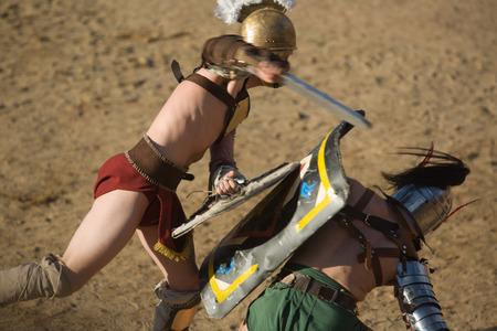 Performing of gladiators fighting of Merida