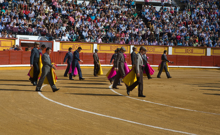 bullfighters: BADAJOZ, SPAIN, APRIL 12  bullfighters doing the ceremonial entry or paseillo before the bullfight, on April 12, 2014 in Badajoz, Spain
