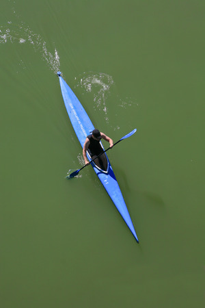 sportman: Kayak sportman taken from one of the bridges over the Guadalquivir River, Spain