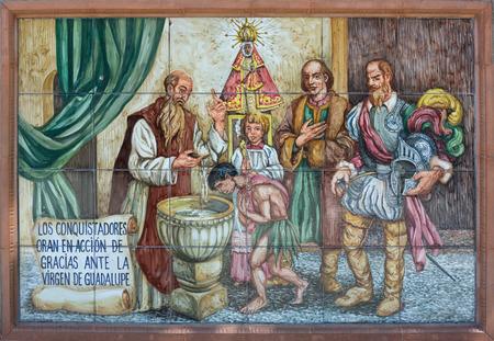 Pared colorida azulejos que recrea escenas históricas de la ciudad de Badajoz, España Escenas de América conquista