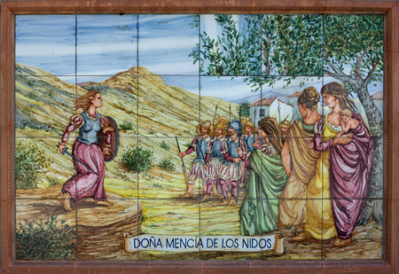 badajoz: Colorful glazed tiles wall that recreates historical scenes of Badajoz town, Spain  Scenes from America conquest