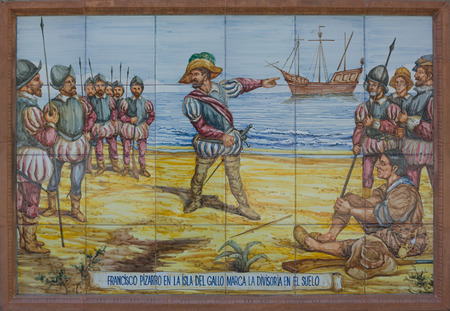 conquest: Colorful glazed tiles wall that recreates historical scenes of Badajoz town, Spain  Scenes from America conquest
