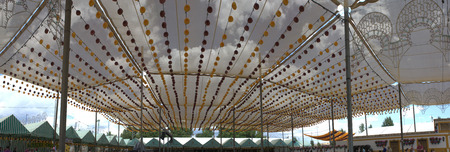laterns: CORDOBA - MAY 31  panoramic view of Cordoba fairground  Town hall tent  May 31, 2014 in Cordoba, Spain