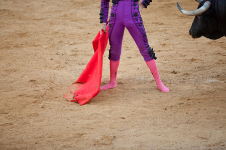 capote: A barefoot bullfighter waits the bull with the capote during a bullfight