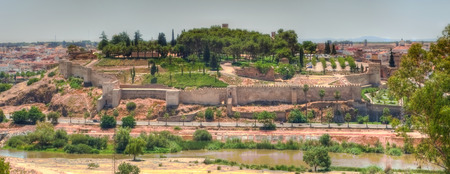 badajoz: Panoramic view of Midle Ages arabic citadel, from San Cristobal Fort, Badajoz, Spain