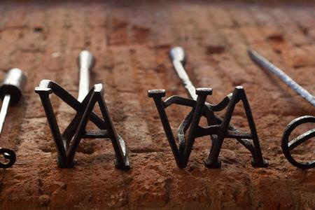markings: Several branding irons for cattle,  Badajoz, Spain Stock Photo